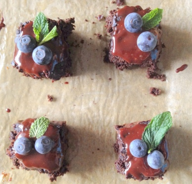 Flourless Brownies and Mint Ganache
