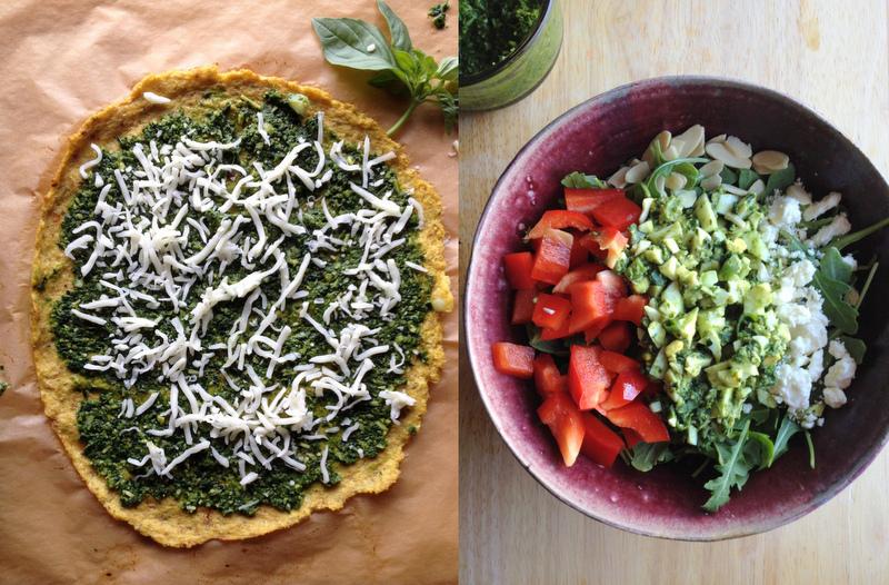 Pesto Pizza & Egg Pesto Salad