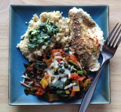Swiss chard tilapia and couscous dinner
