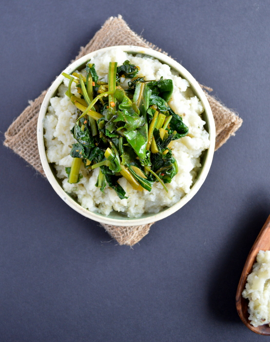 Cauliflower Celery Root Puree with Beet Greens | Healthy Nibbles & Bits
